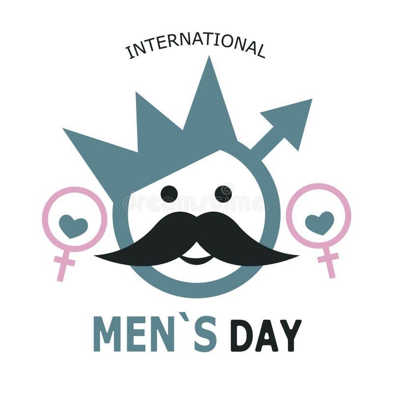 Día internacional del ` s de los hombres Bandera bajo la forma de símbolo de un hombre con una corona, un bigote y ojos rodeados  stock de ilustración
