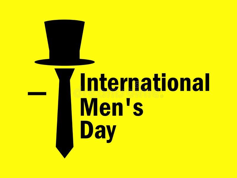 Día internacional del ` s de los hombres Lazo y sombrero en un fondo amarillo Vector ilustración del vector