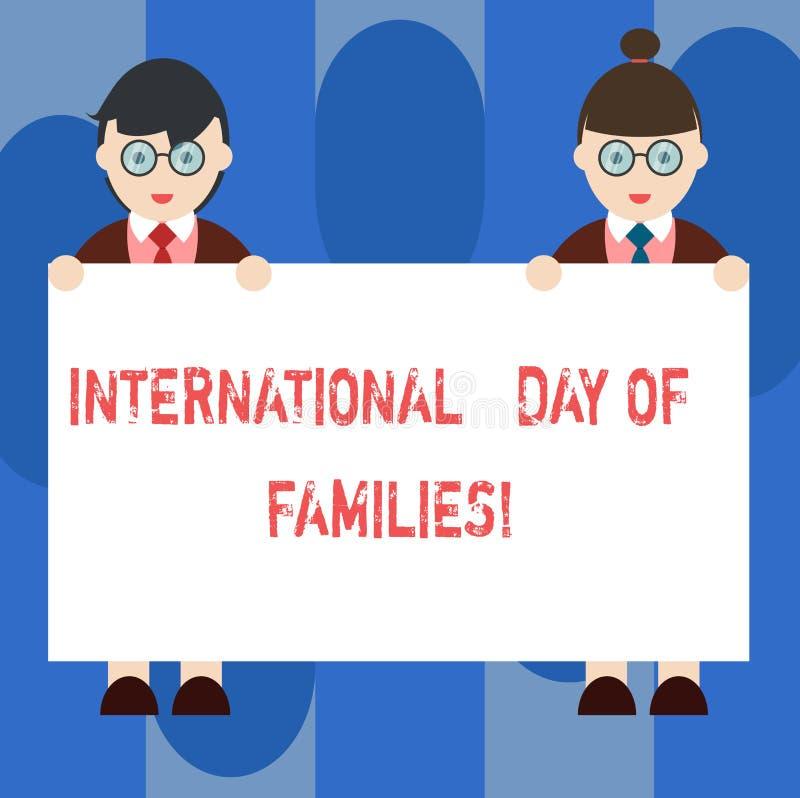 Día internacional del texto de la escritura de familias Varón y hembra de la celebración de la unidad del tiempo de la familia de stock de ilustración
