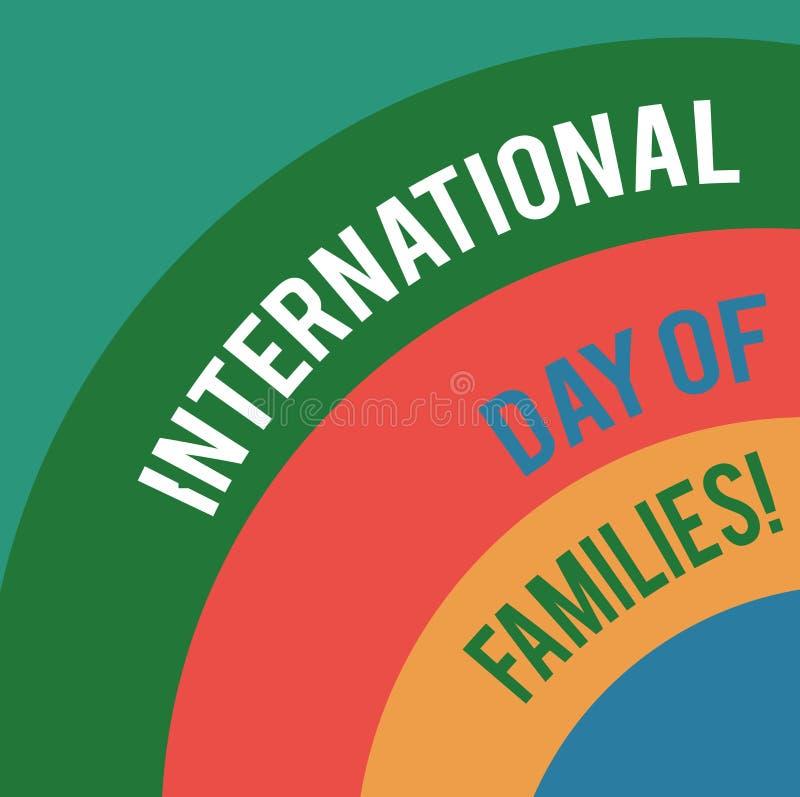 Día internacional del texto de la escritura de la palabra de familias Concepto del negocio para el arco acodado celebración de la ilustración del vector