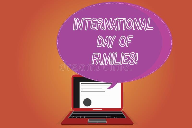 Día internacional del texto de la escritura de la palabra de familias Concepto del negocio para el certificado de la celebración  ilustración del vector