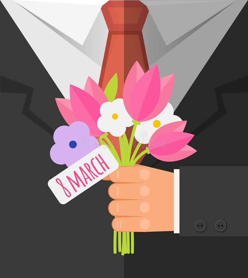 Día internacional feliz del ` s de las mujeres, el 8 de marzo postal Hombre de negocios que sostiene el ramo de tulp rosado y flo libre illustration