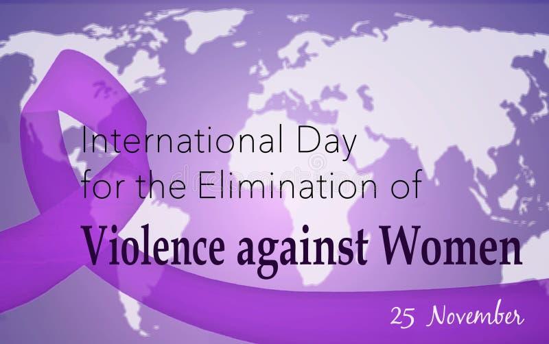 Día internacional para la eliminación de la violencia contra mujeres ilustración del vector
