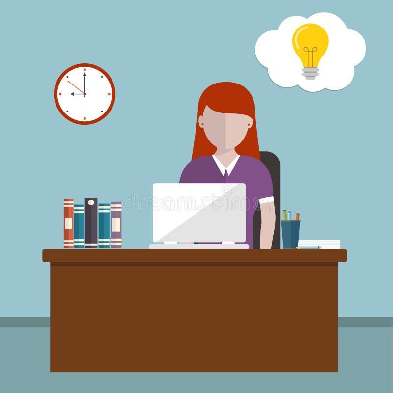 Día laborable y concepto del lugar de trabajo Vector el ejemplo de una mujer en la oficina que tiene idea ilustración del vector