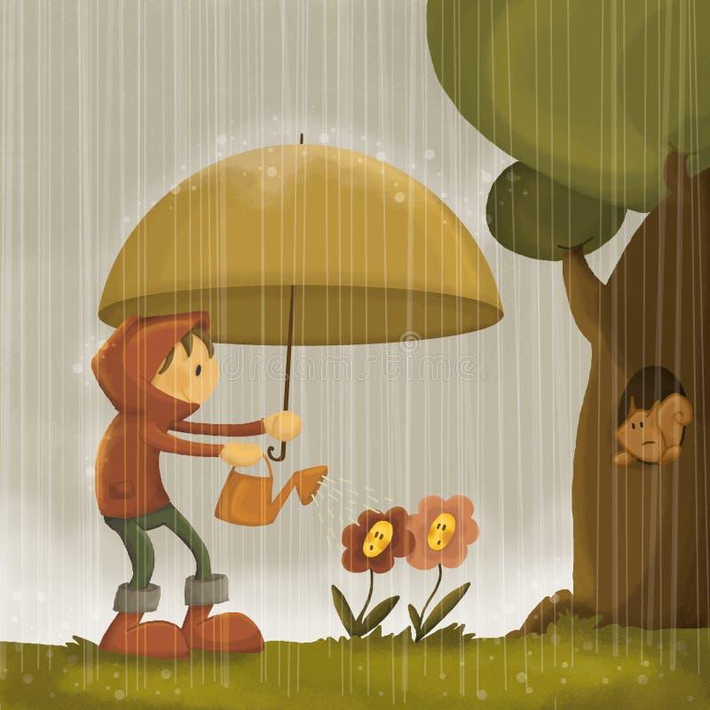 Día lluvioso de riego loco stock de ilustración