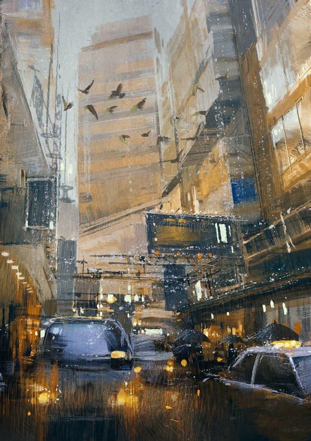 Día lluvioso en el atasco de la ciudad en la calle ilustración del vector