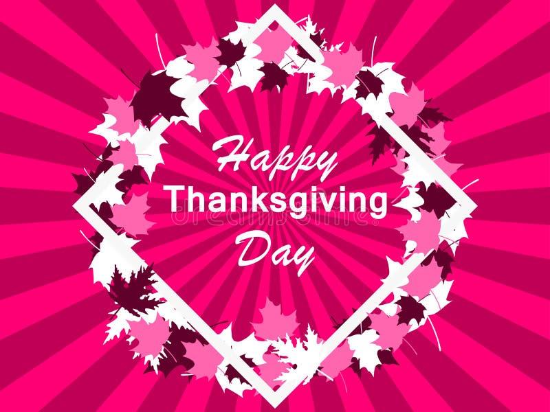 Día, marco y hojas felices de la acción de gracias Tarjeta de felicitación Vector ilustración del vector