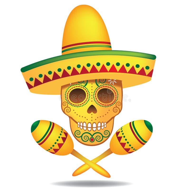 Día mexicano de Sugar Skull y de la bandera pirata muertos stock de ilustración