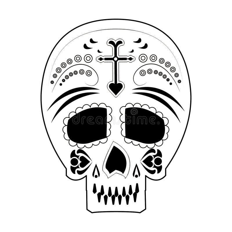 Día mexicano del cráneo de icono de la muerte en blanco y negro ilustración del vector