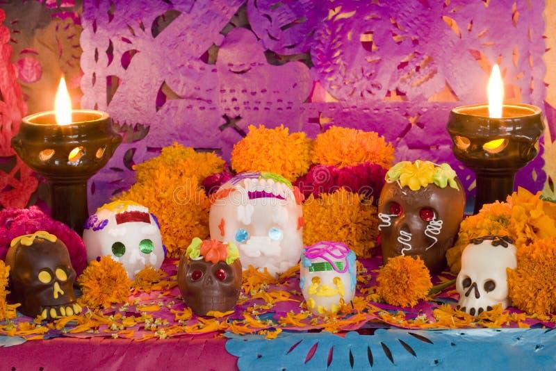 Día mexicano del frente muerto del altar fotos de archivo
