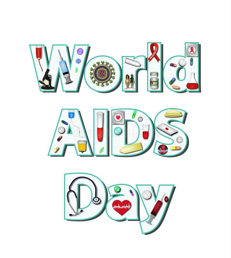 Día Mundial del Sida la inscripción de iconos médicos dentro Infografía Ejemplo del vector en fondo aislado stock de ilustración