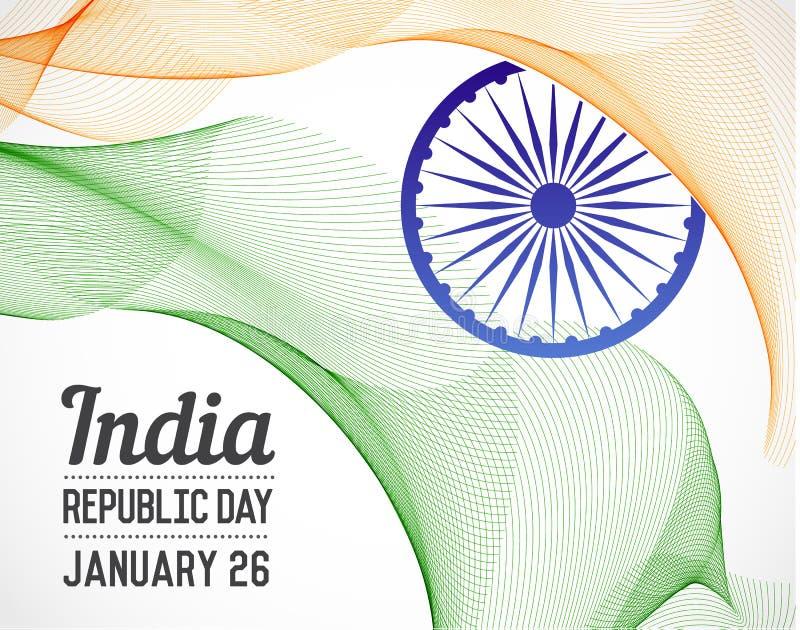Día nacional de la república de país de la India en las líneas estilo de mezcla V ilustración del vector