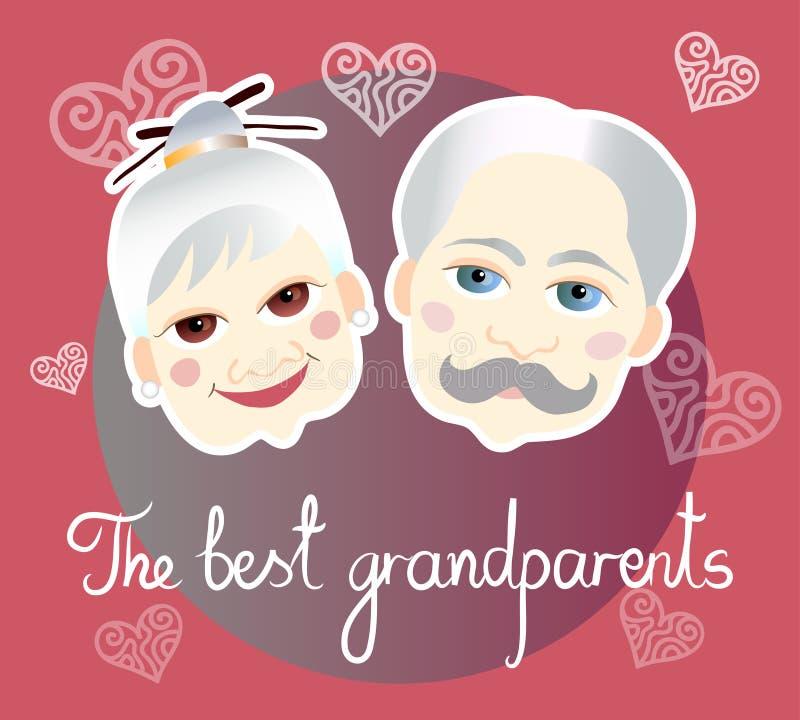 Día nacional de los abuelos Tarjeta de felicitación stock de ilustración