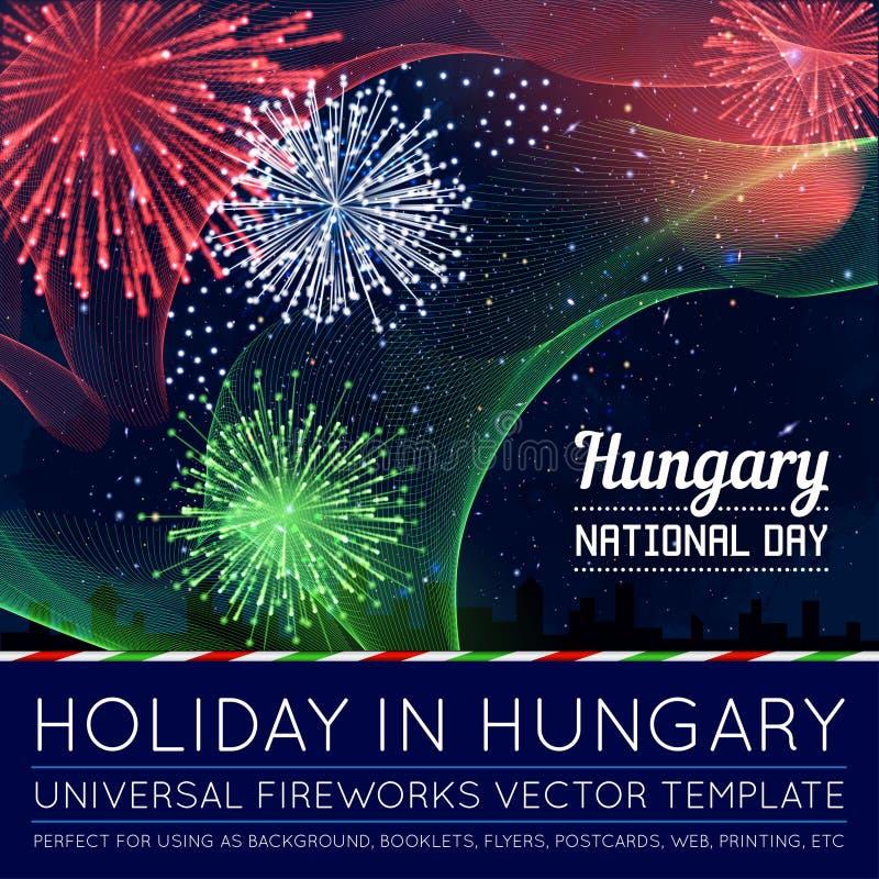 Día nacional de país en las líneas estilo de mezcla con los fuegos artificiales ilustración del vector