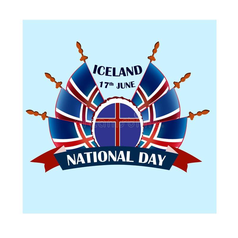 Día nacional islandés, ejemplo con las banderas nacionales stock de ilustración
