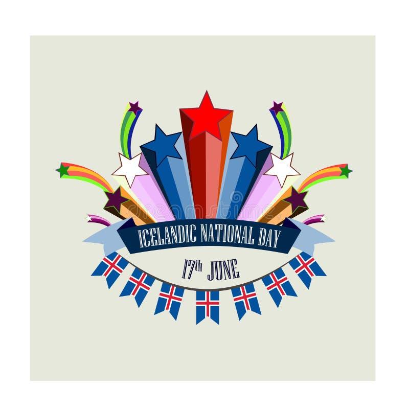 Día nacional islandés, ejemplo con los fuegos artificiales festivos estilizados stock de ilustración