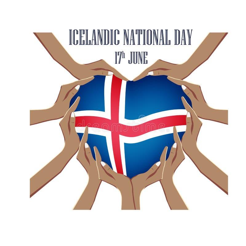 Día nacional islandés, ejemplo del vector con las manos ilustración del vector