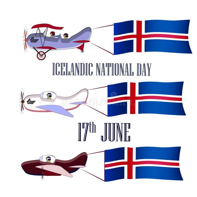 Día nacional islandés, sistema con tres aviones ilustración del vector