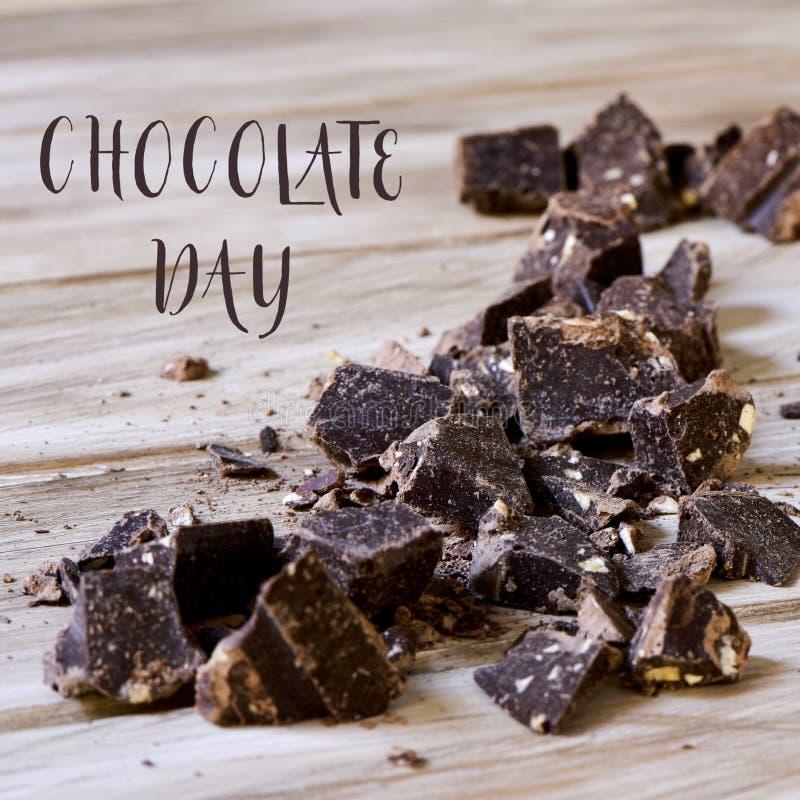 Día oscuro del chocolate y del chocolate del texto foto de archivo libre de regalías