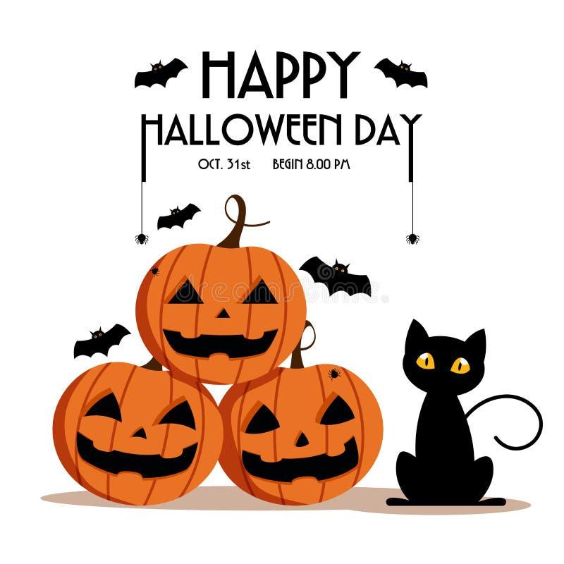 Día, palo y araña del feliz Halloween en el texto, asustadizo de la sonrisa linda de la calabaza partido fantasmagórico pero lind stock de ilustración