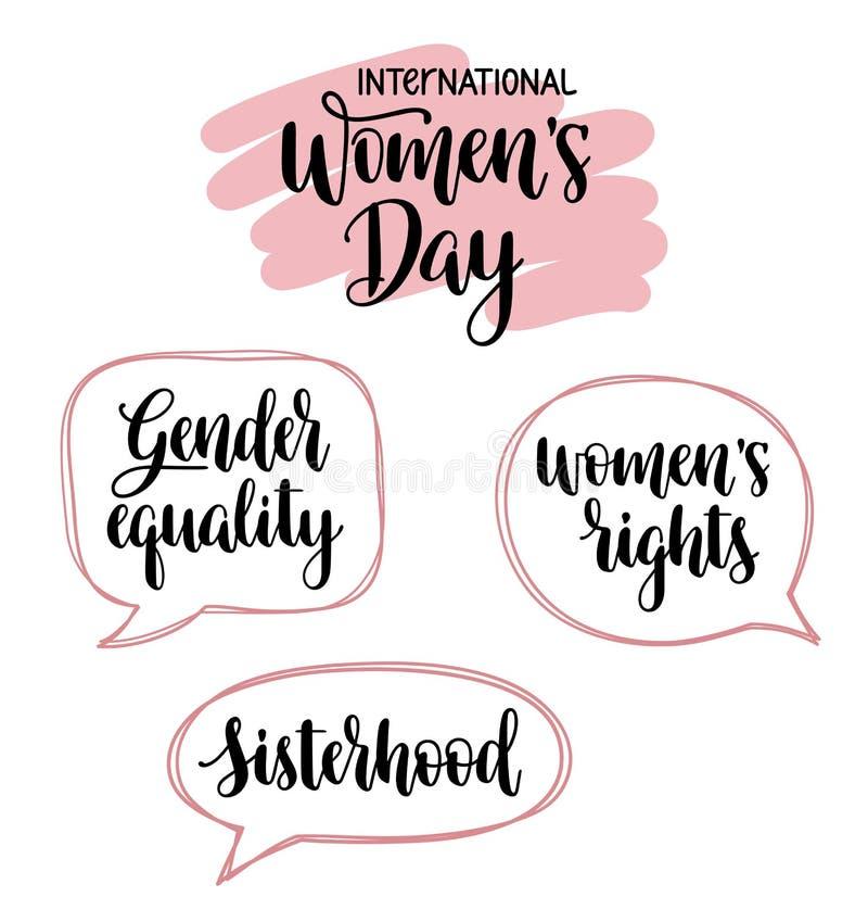 Día para mujer internacional y tipografía feminista stock de ilustración