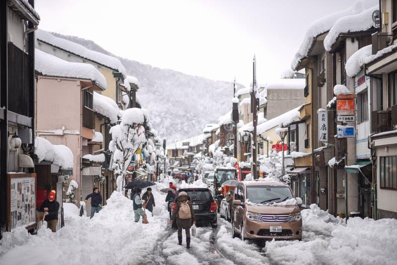 Día pesado Nevado en Kinosaki Onsen foto de archivo libre de regalías