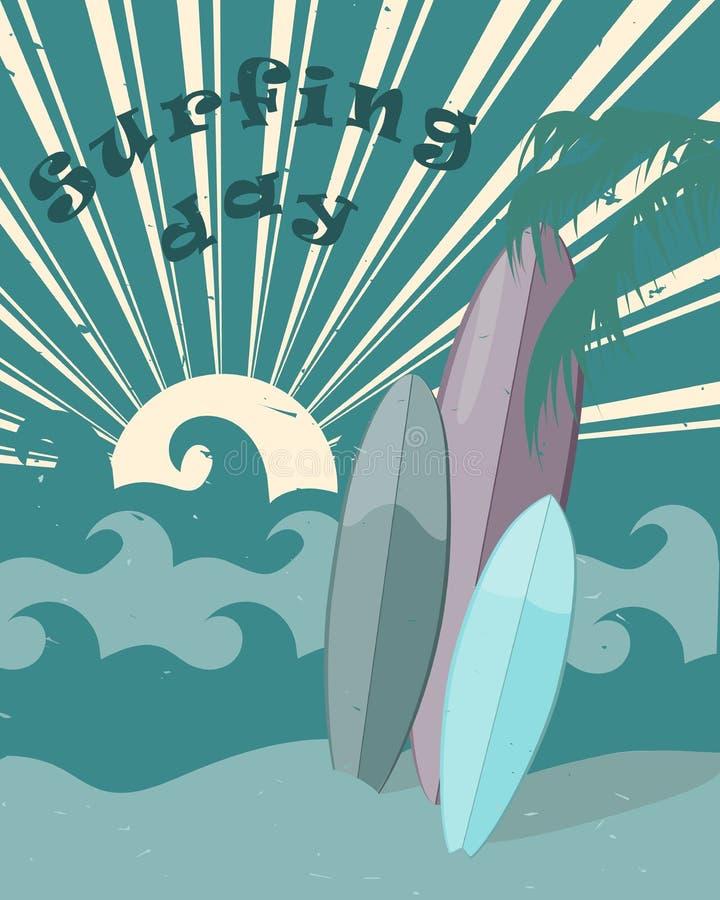 Día que practica surf internacional del cartel plano del vintage stock de ilustración