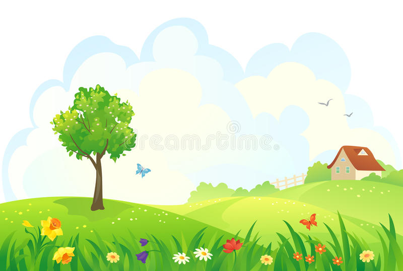 Día rural de la primavera ilustración del vector