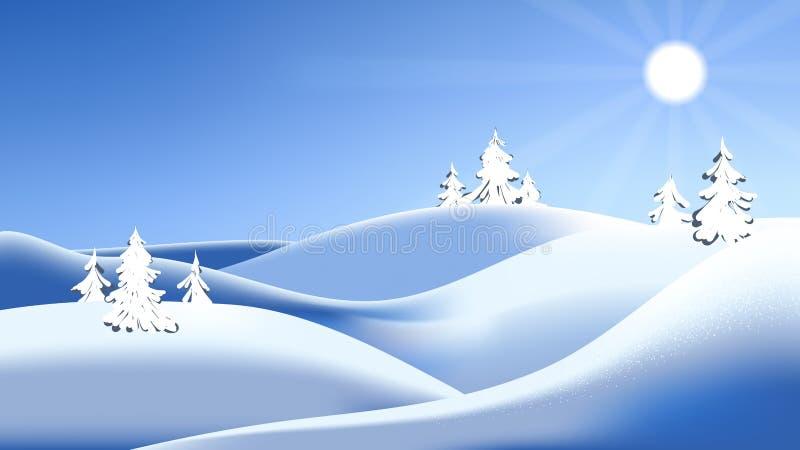 Día soleado brillante, pequeñas colinas en invierno ilustración del vector