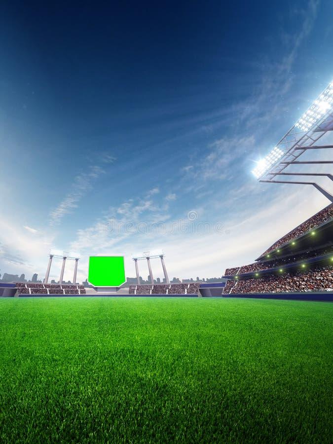 Día soleado del estadio con las fans de la gente 3d rinden la ilustración stock de ilustración