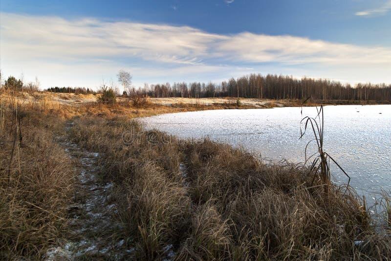 Día soleado del invierno en la orilla de un lago congelado foto de archivo