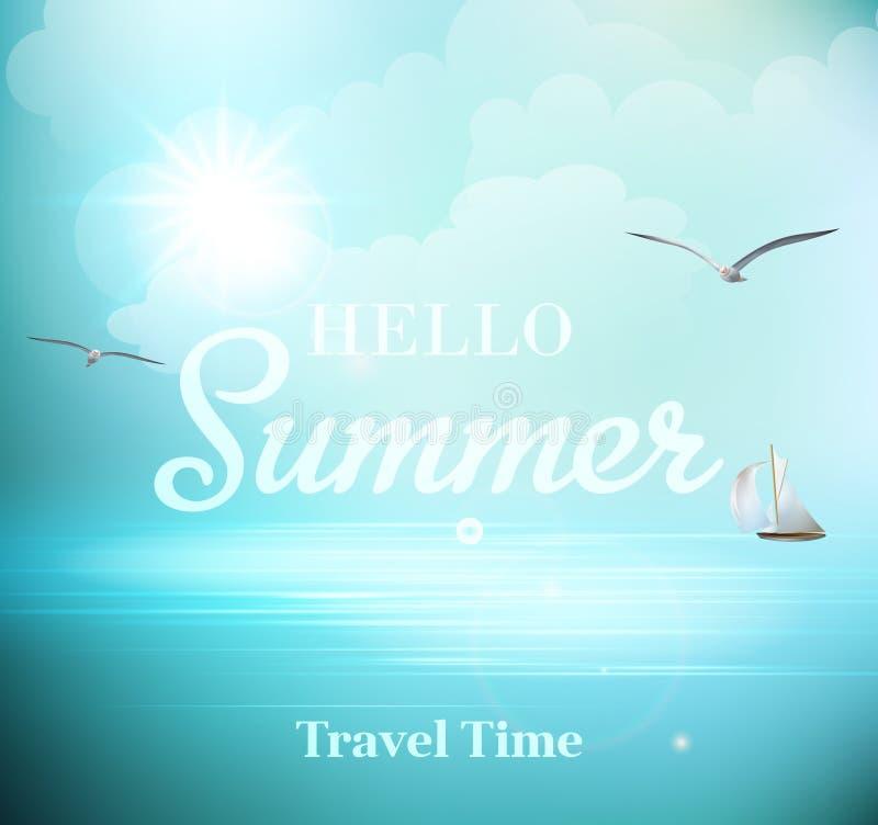 Día soleado del verano con las vistas del mar con libre illustration