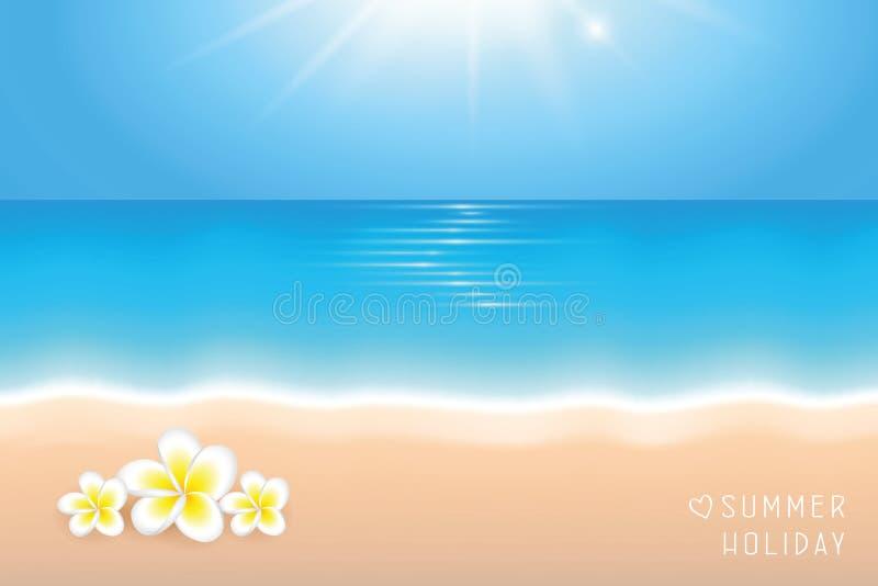 Día soleado en el fondo de las vacaciones de verano de la playa con las flores tropicales del frangipani ilustración del vector