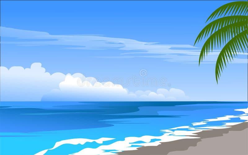 Día soleado en playa tropical stock de ilustración