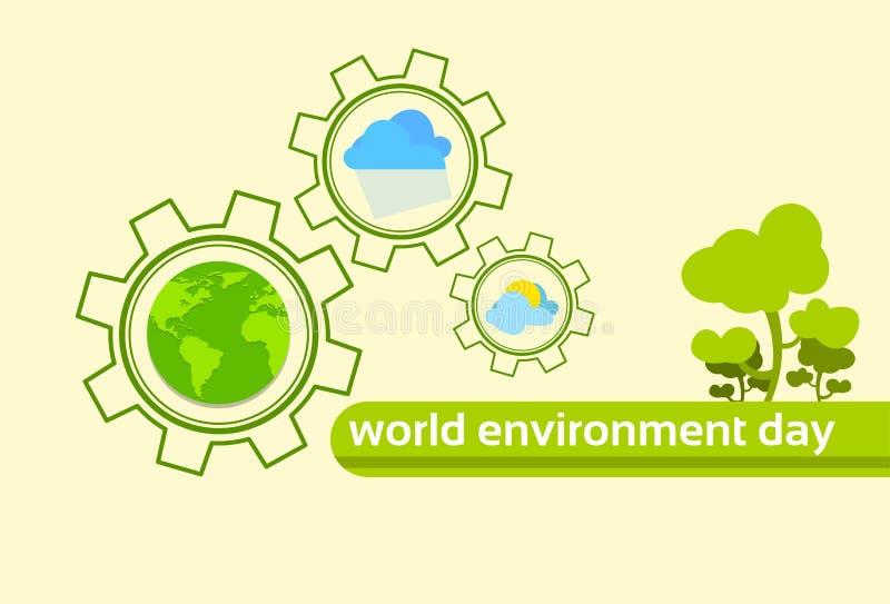 Día verde del ambiente mundial del clima del planeta de la tierra del globo del árbol ilustración del vector