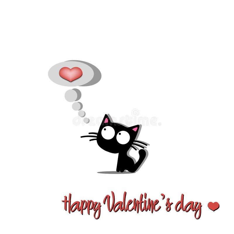 Día y gato de las tarjetas del día de San Valentín feliz libre illustration