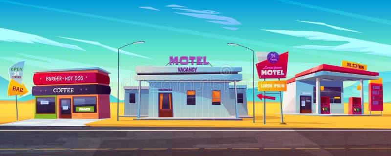 D?a y noche alojamiento c?modo del motel stock de ilustración