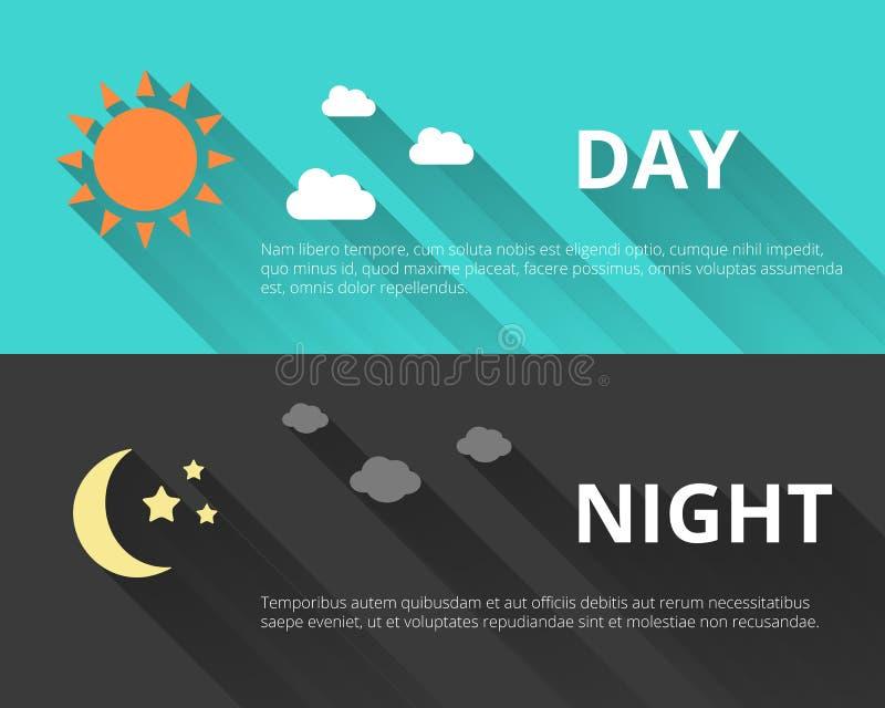 Día y noche banderas ilustración del vector