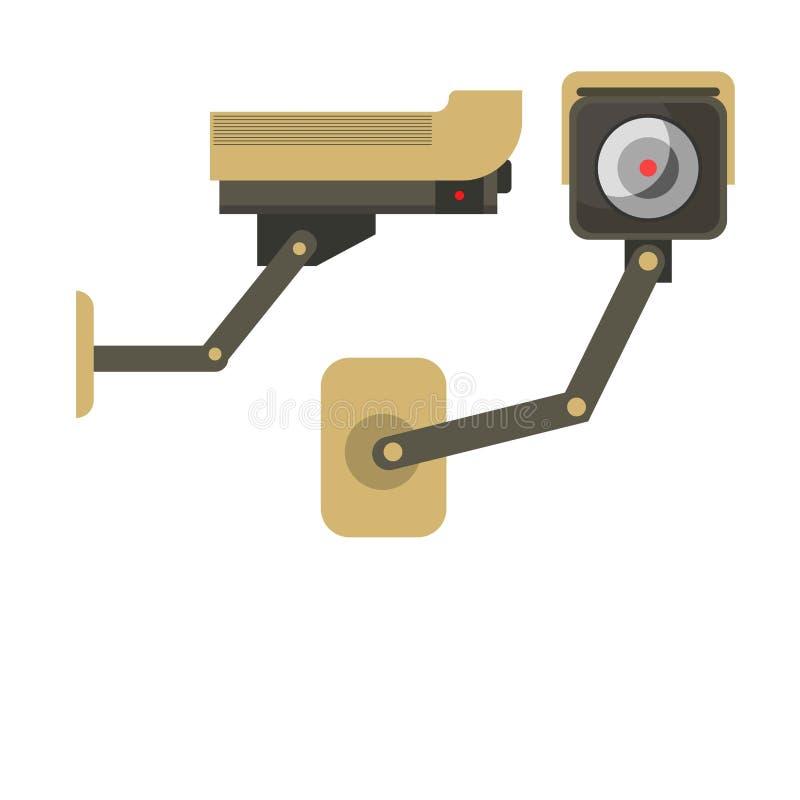 Día y noche cámara de vigilancia inalámbrica aislada en blanco libre illustration