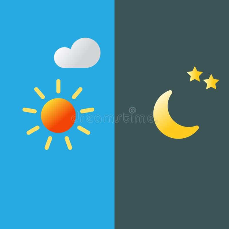 Día y noche ejemplo plano del vector de la sombra larga, símbolos del vector stock de ilustración
