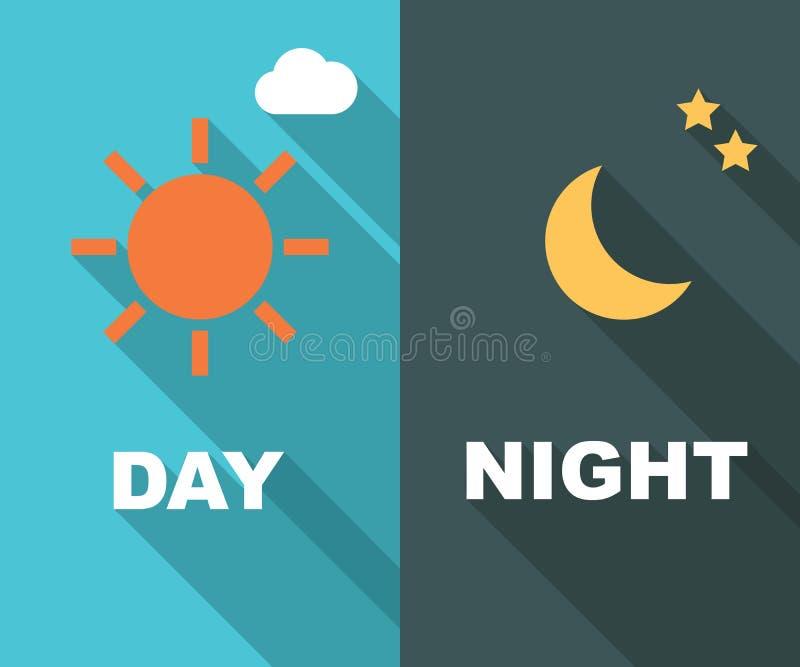 Día y noche sombra larga plana stock de ilustración