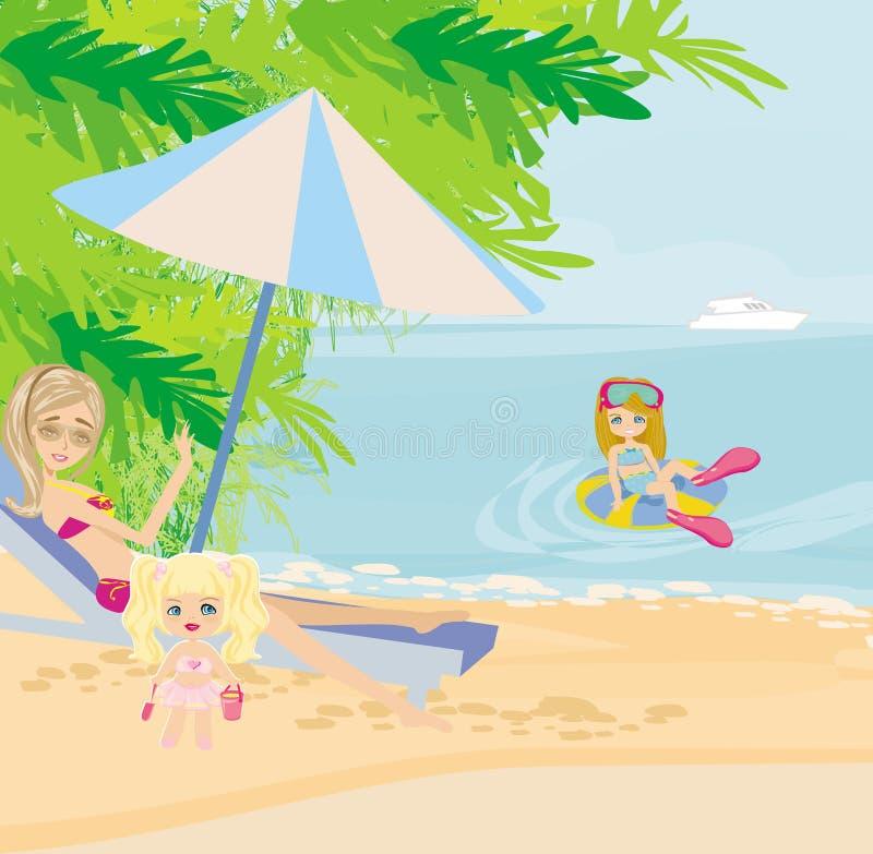 Días de fiesta de la familia por el mar ilustración del vector