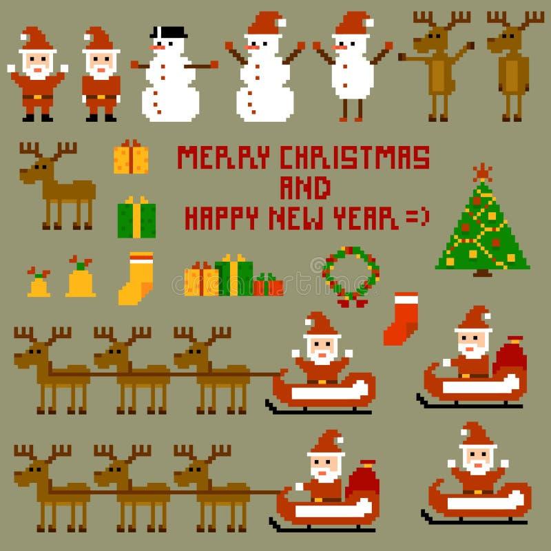 Días de fiesta de la Navidad del pixel stock de ilustración