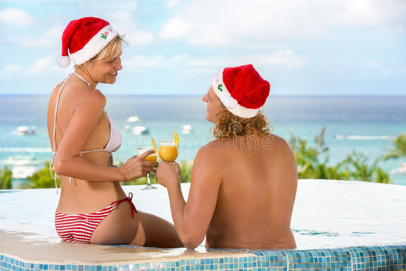 Días de fiesta de la Navidad por el mar fotografía de archivo