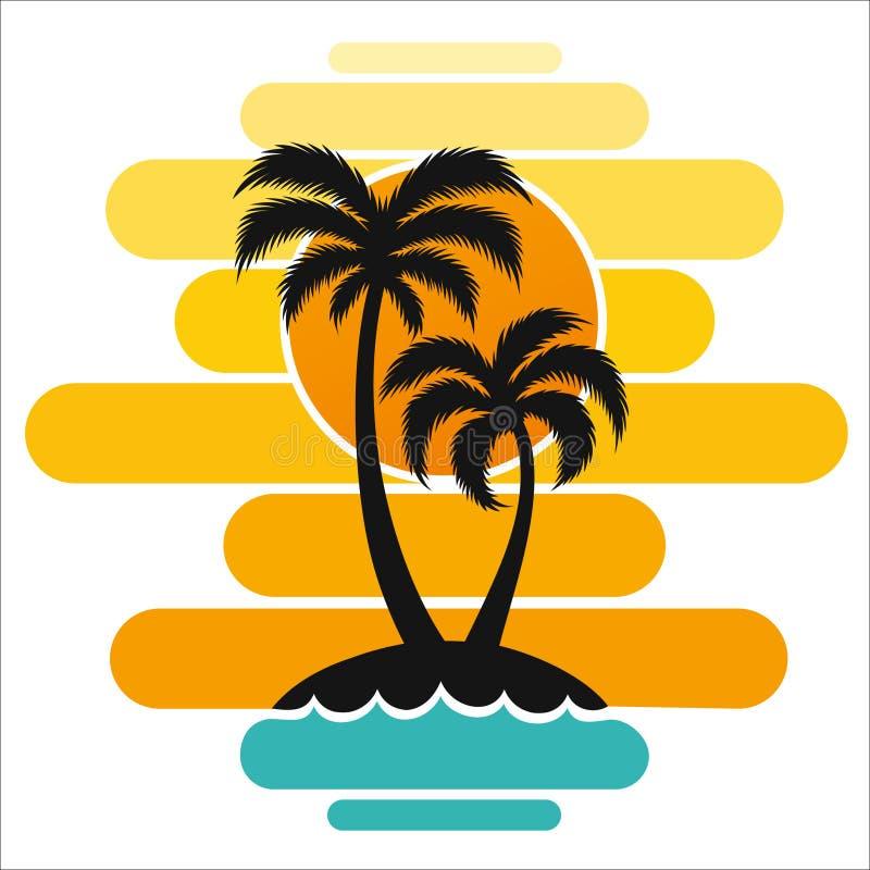 Días de fiesta del turismo del sol de la isla de las zonas tropicales del viaje de la impresión del arte del diseño del océano de ilustración del vector