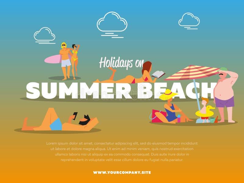 Días de fiesta en bandera de la playa del verano libre illustration