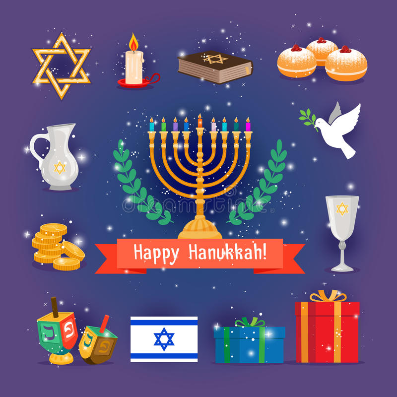 Días de fiesta judíos Jánuca o iconos del chanukah stock de ilustración