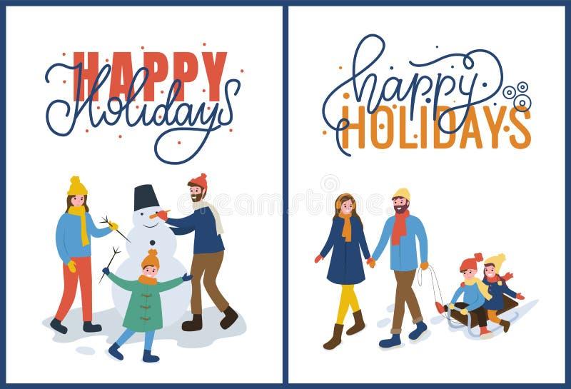 Días de fiesta de la familia con vector del muñeco de nieve y del trineo ilustración del vector