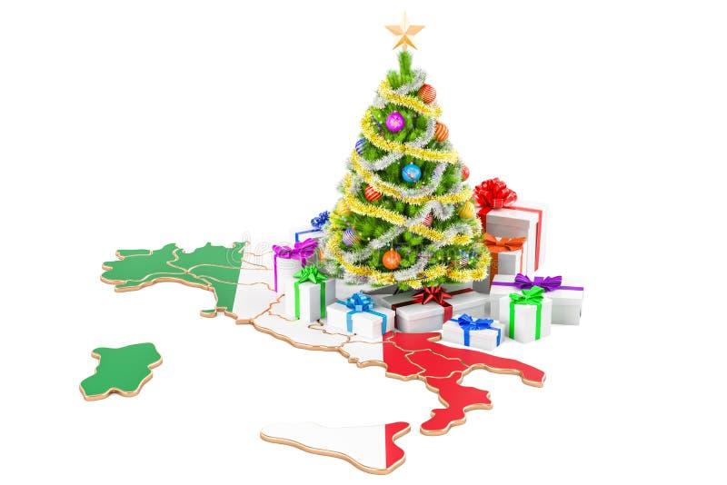 Días de fiesta de la Navidad y del Año Nuevo en el concepto de Italia representación 3d stock de ilustración