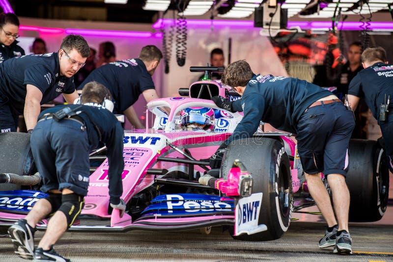 Días 2019 de la prueba del Fórmula 1 - Lance Stroll fotografía de archivo libre de regalías